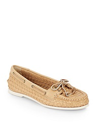 Sperry Audrey Woven Leather Boat Shoes Gold