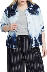 Rachel Roy Plus Size Acid Wash Denim Jacket Cloud Wash