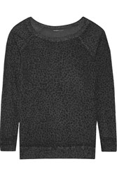 Majestic Leopard Print Modal Cashmere And Silk Blend Jersey Top Gray