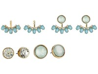 Guess Stud And Stone Stud Earrings Jacket Duo Ear Set Gold Crystal Mint Earring