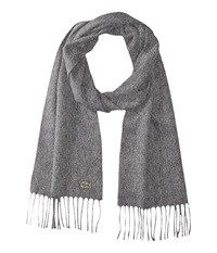 Lacoste Wool Cashmere Twill Scarf Stone Grey Scarves Gray