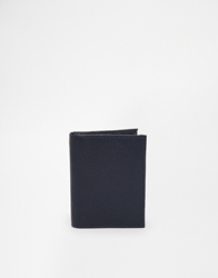 Asos Leather Card Wallet With Zip Pocket Navy