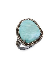 Adornia Larimar And Diamonds Gemma Ring Silver