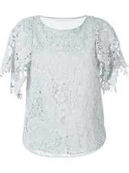 See By Chloa Guipure Lace Top Blue