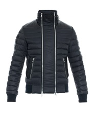 Balmain Leather Panel Multi Zip Quilted Jacket