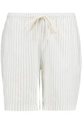 Toteme Kruger Striped Cotton And Linen Blend Shorts White