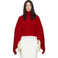 Awake A.W.A.K.E. Red Button Back Turtleneck
