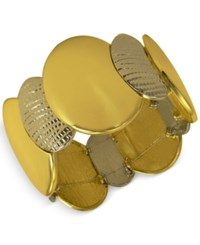 Guess Two Tone Textured Stretch Bracelet Two Tone