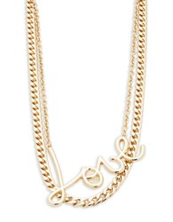 Rj Graziano Double Chain Love Necklace Gold