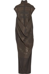 Rick Owens Seahorse Draped Sequined Wool Blend Dress Gray