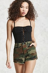 Forever 21 Cargo Camo Shorts Dark Green Brown