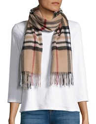 Lord And Taylor Plaid Cashmere Scarf Camel
