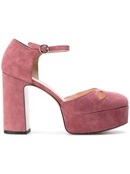 Marc Jacobs Platform Pumps Women Leather Suede 39 Pink Purple