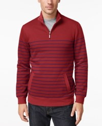 Club Room Men's Striped Quarter Zip Sweater Only At Macy's Dark Red