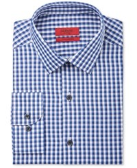Alfani Red Men's Fitted Performance Blue Double Gingham Dress Shirt Only At Macy's