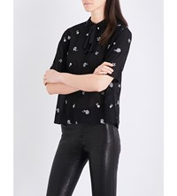 The Kooples Floral Embroidered Chiffon Blouse Bla01