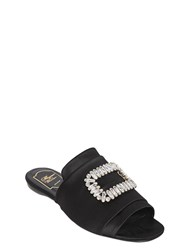 Roger Vivier 10Mm Tiffany Buckle Satin Slide Sandals