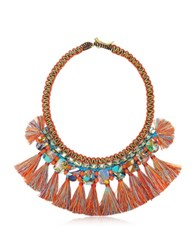Tory Burch Macrame Statement Necklace W Tassels And Beads Red