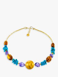 Be Jewelled Amber Amethyst And Turquoise Statement Necklace Multi