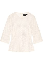 Needle And Thread Crocheted Cotton Peplum Top Ivory