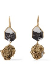 Christopher Kane Gold Tone Stone Earrings One Size