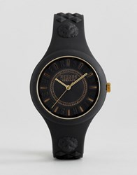 Versus By Versace Soq05 Fire Island Silicone Watch In Black Black