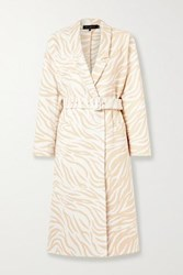 Sally Lapointe Belted Double Breasted Cotton Blend Zebra Jacquard Coat Ivory