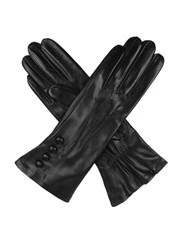 Dents Ladies Silk Lined Button Detail Leather Glove Black