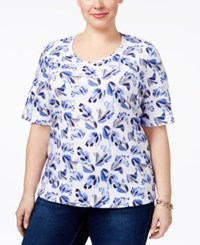 Karen Scott Plus Size Printed T Shirt Only At Macy's Orchid Blue