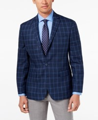 Ryan Seacrest Distinction Men's Modern Fit Navy Windowpane Sport Coat Created For Macy's