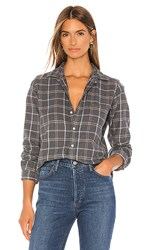 Frank And Eileen Barry Button Down In Gray. Charcoal Grey Blue And Taupe Plaid