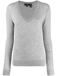 Theory V Neck Ribbed Jumper Grey