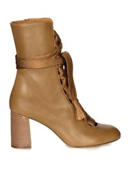 Chloe Harper Lace Up Leather Ankle Boots Khaki
