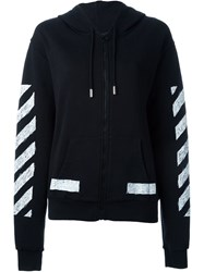 Off White Stripe Print Hooded Sweater Black