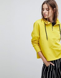 Noisy May Gym Funnel Neck Hoodie Sulphur Yellow