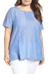 Vince Camuto Plus Size Women's Two By Stripe Gauze Cold Shoulder Top