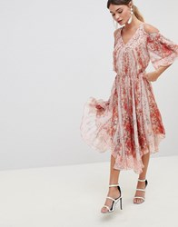 Zibi London Cold Shoulder Printed Dress Multi