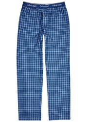 Calvin Klein Checked Cotton Lounge Trousers Blue