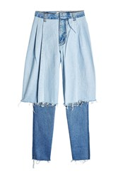 Ksenia Schnaider Distressed Two Tone Jeans