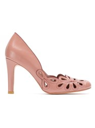 Sarah Chofakian Leather Belle Epoque Pumps Pink