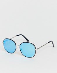 Jeepers Peepers Round Sunglasses With Blue Tinted Lens Silver