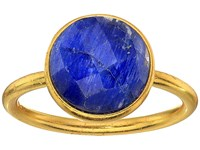Dee Berkley Single Round Stone Adjustable Ring Dyed Sapphire Blue Ring