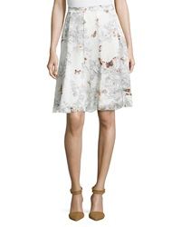 Paperwhite Fit And Flare Pleated Silk Printed Skirt Multi