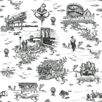 Flavor Paper Brooklyn Toile Wallpaper On Ez Papes Black And White On Ez Papes
