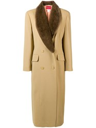 Kenzo Vintage Double Breasted Long Coat Nude And Neutrals