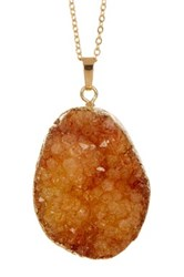 Leila Peach Druzy Pendant Necklace Metallic