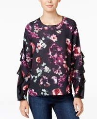 Bar Iii Ruffled Floral Print Top Only At Macy's Black Combo