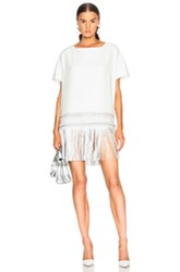 Sally Lapointe Oversized Leather Fringe Dress In White