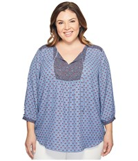 Nydj Plus Size Patch Work Mosaic Blouse Provence Petals Blue Women's Blouse