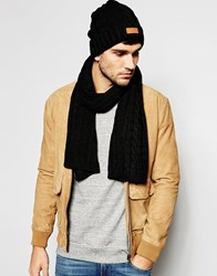 7X Cable Beanie Hat And Scarf Set Black